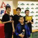 Members of Garnet Squadron Alfa with their Robot Performance Award and the golden ticket to the South Carolina FLL State Championship